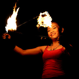 Fire Dancer by Jeremy Mendoza - People Musicians & Entertainers ( firedancer, woman, performance, talent, entertainer, entertainment )