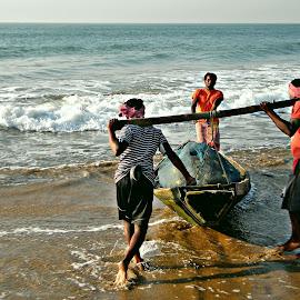 Fisherman by Saptak Banerjee - People Professional People ( fishermen, sea, india, boat, fisherman, professional people )