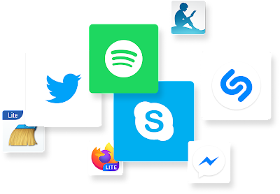 Several app icons including Twitter and Spotify.