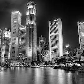 Singapore Skyline by Prosenjit Saha - City,  Street & Park  Skylines ( skyline, urban landscapes, black and white, waterscapes, singapore,  )