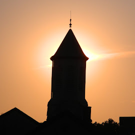 Steeple by Thomas Fitzrandolph - Buildings & Architecture Places of Worship ( steeples, nikon l120, sunset, churches, niagara county ny, lockport ny )