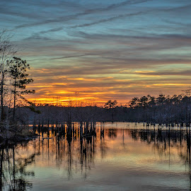 Sunset over Rainbow Pond by Carol Plummer - Landscapes Sunsets & Sunrises