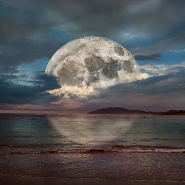 Moon over Tamarindo by William Underwood  - Digital Art Places