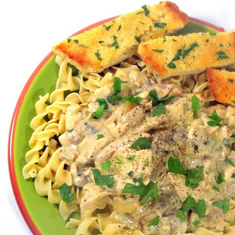 Chicken Mushroom Stroganoff over Egg Noodles