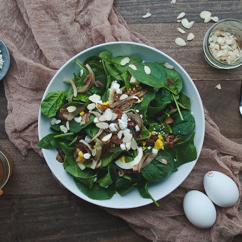 Spinach Salad With Warm Bacon-honey Mustard Dressing.