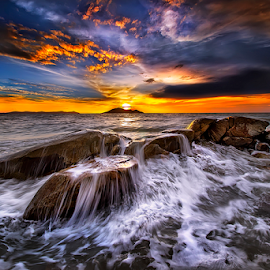 Overlays waves when Sunset by Dany Fachry - Landscapes Beaches