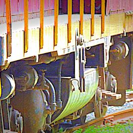 Under The Engine by Becky Luschei - Transportation Trains ( pull, locomotive, engines, under, train )