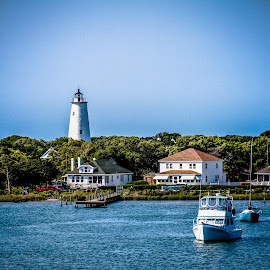Ochacoke Island by Myra Brizendine Wilson - Buildings & Architecture Public & Historical ( boat dock, north caroline, anchor inn marina, nc, outer banks, ochacoke lighthouse, ocracoke island, lighthouse )
