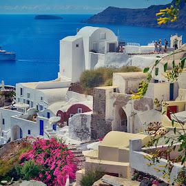 Oia magic by Jiri Cetkovsky - City,  Street & Park  Skylines ( skyline, greece, sea, streets, view, oia, santorini, island )
