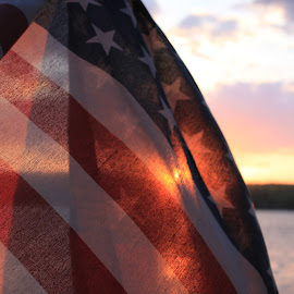 by Rachel Seitz - Artistic Objects Other Objects ( patriotic, majestic, sunset, memorial day, american flag, sunlight,  )