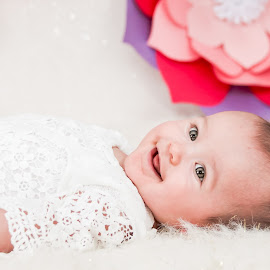 Cute Smile by Jenny Hammer - Babies & Children Babies ( paper flowers, spring, baby, girl, cute )