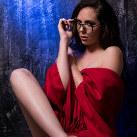 Eduard Labuschagne by Eduard Labuschagne - People Portraits of Women ( model, red, floor, blue, wall )