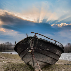 Boat and sunrise by Maja Tomic - Transportation Boats ( sunrise, boat )