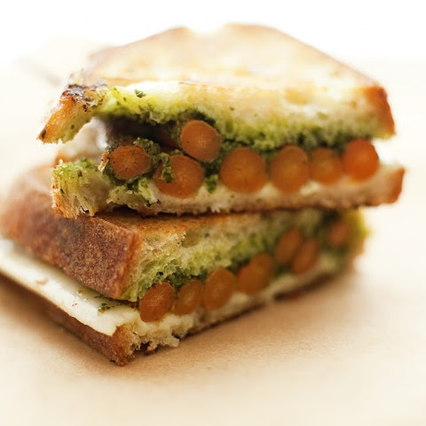 Grilled Cheese with Roasted Carrots + Carrot Green Pesto