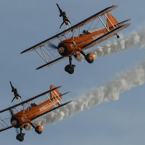 Boeing Stearman, Breitling Wingwalkers by Phil Clarkstone - Transportation Airplanes ( glamour, vintage, pair, biplane, stearman, breitling, boeing, aerobatic, stunt, smoke )