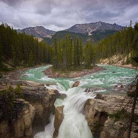 Sunwapta Falls by Brian Adamson - Landscapes Waterscapes ( waterfalls, alberta, falls, jasper, island,  )