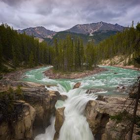Sunwapta Falls by Brian Adamson - Landscapes Waterscapes ( waterfalls, alberta, falls, jasper, island,  )