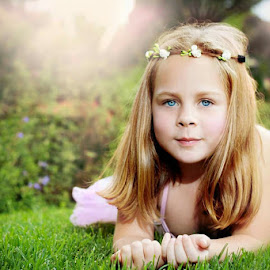 Beauty by Shayne Janks Nicolas - Babies & Children Child Portraits ( child, little girl, tutu, green, daughter, beautiful eyes, garden, light )