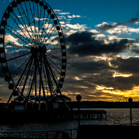 Ferris Wheel by Kyley Hansen - City,  Street & Park  Amusement Parks ( seattle, fun, beauty, ferris wheel, city, , colorful, mood factory, vibrant, happiness, January, moods, emotions, inspiration )