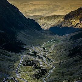 Transfagarasan road by Gabi Radoi - Landscapes Mountains & Hills ( water, hills, mountains, green, sunset, road )