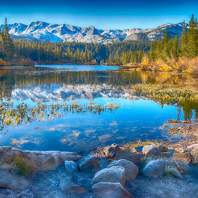 Beautiful Twin Lake at dawn in Mammoth, California by Kathy Dee - Landscapes Mountains & Hills ( water, reflection, mountain, green, california, lake, mammoth, yellow, travel, aspen, twin, blue, fall, background, trees, rocks, foreground,  )