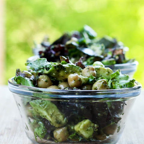 Avocado Chickpea Salad with Vegan Pesto