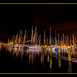 The Waterfront by James Eickman - Digital Art Things ( water, waterscape, boats, night, docks,  )