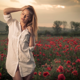 --- by Boris Dimitrov - People Portraits of Women ( girl, sunset, dress, white, poppies )