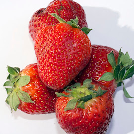 sweet red strawberry close up by LADOCKi Elvira - Food & Drink Fruits & Vegetables ( red, nature, fruits, redsweet, garden, strawberry, strawberry fruits )