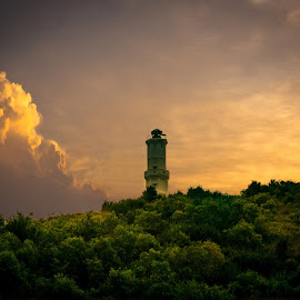 Lighthouse by Bekti Sulasyono - Buildings & Architecture Other Exteriors ( top hill lighthouse, sunset, lighthouse, abandoned )