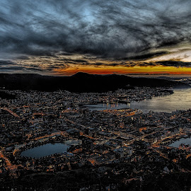 Bergen Norway by Terje Sandø - Landscapes Sunsets & Sunrises ( bergen, sunset, vista, landscape, norway )