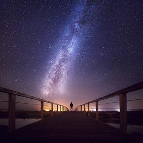 Walking to the Stars by Sebastien Gaborit - Landscapes Starscapes ( milkyway, stars, bridge )