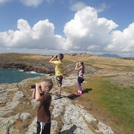 On Dolphin Watch by John Wilson - People Family ( holiday, uk, wales, dolphins, binoculars, KidsOfSummer )