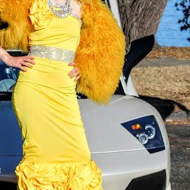 Lamborghini fashion model by Mark Sarden - People Fashion ( luxury, car, fashion, dress, marina, yellow )