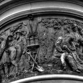 Frieze on the New York Monument by Michael McMurray - Buildings & Architecture Statues & Monuments ( cemetery hill, bronze, sculpture, b&w, memorial, marker, frieze, black & white, national military park, monument, new york, national cemetery, gettysburg )