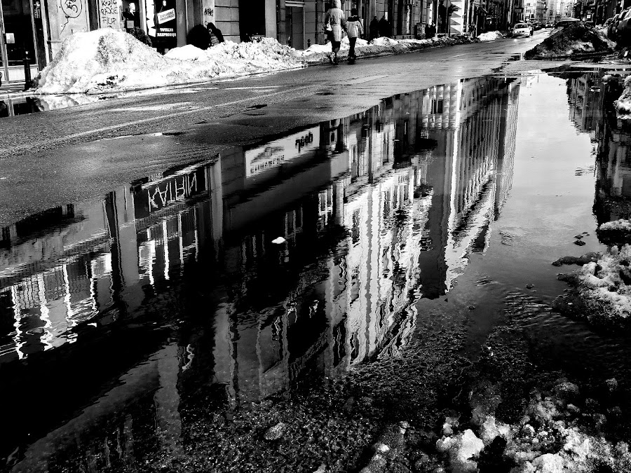 Big puddle by Zoran Nikolic - City,  Street & Park  Street Scenes