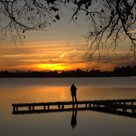 The lone fisherman by Cheryl Muir - Landscapes Sunsets & Sunrises