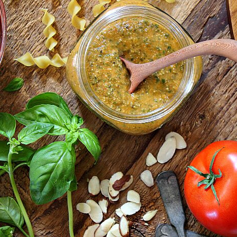Roasted Tomato and Basil Pesto with Almonds