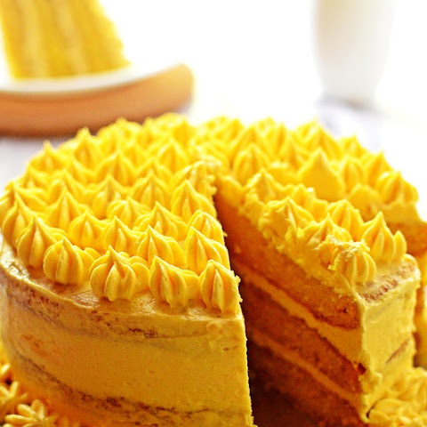 Mango Cake with Mango flavoured with Buttercream (eggless)