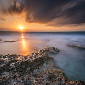 Ray of hope by Haim Rosenfeld - Landscapes Sunsets & Sunrises ( dreamy, achzive, stone, rock, beach, travel, glow, long, drama, contemplate, middle, shot, unreal, time, sky, nature, spiritual, movement, achziv, place, surreal, light, foreground, orange, wind, dream, windy, colors, soul, mood, image, atmosphere, horizon, dusk, picture, leading, scene, moody, lines, view, exposure, shore, dynamic, reflection, colorful, waterscape, land, line, beauty, frozen, landscape, israel, sun, coast, mediterranean, dreamlike, tide, dramatic, long exposure, rock formation, east, nikon, evening, rocks, abstract, water, clouds, sand, seashore, purple, waves, green, beautiful, sea, seascape, scenic, gray, photo, d810, great, blue, sunset, outdoor, scenery, milky, stunning )