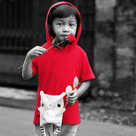 in red.... by Aryajati Furniture - Babies & Children Child Portraits ( child, rose, red, woman, children,  )