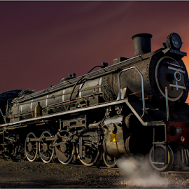 Old Steamer by Hannes Kruger - Transportation Trains ( sunset, locomotive, train, steamer, steam )