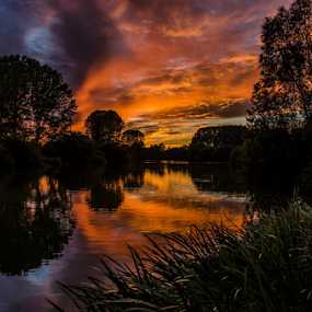 Magnificent Sky by Freddie Meagher - Landscapes Sunsets & Sunrises ( clouds, water, england, reflection, sky, nature, sunset, trees, lake )