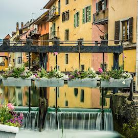 Annecy by Nikolas Ananggadipa - City,  Street & Park  Neighborhoods ( water, annecy, neighborhoods, building, neighborhood, buildings, france, long exposure, flower, city, river )