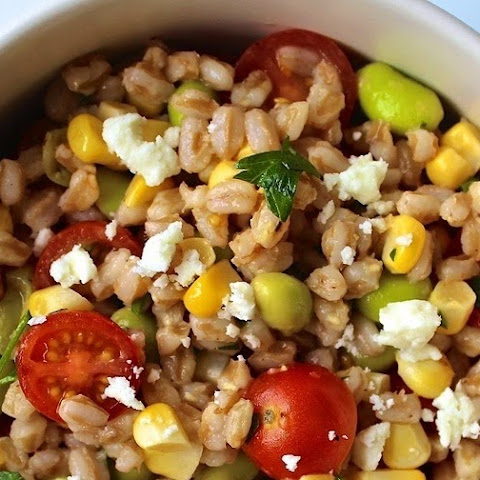 Farro Salad with Corn, Tomatoes and Edamame