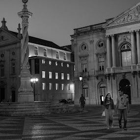 On your side. by José Borges - Black & White Street & Candid ( praça do municipio, bw, night, historical, square, lisbon, portugal, city at night, street at night, park at night, nightlife, night life, nighttime in the city )