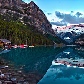 Lake Louise Reflections by Doug Clement - Landscapes Waterscapes ( pwcreflections )