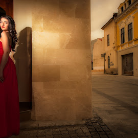 red lady by Adrian  Gabriel - Wedding Bride ( flash, red, dress, wedding, light, city )