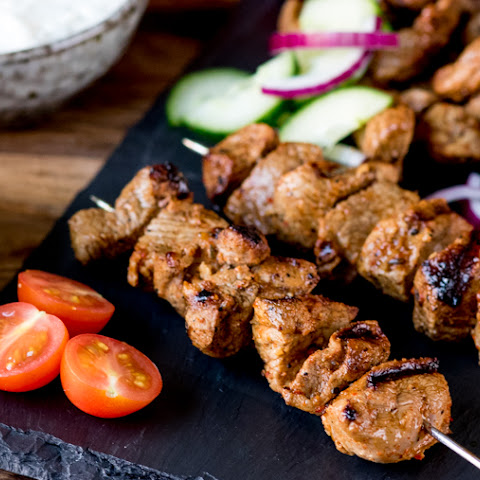 Lamb Skewers with Cucumber Sour Cream Dip