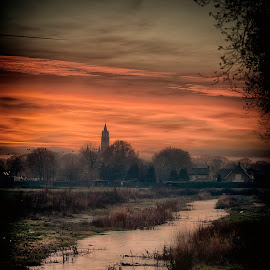 churchview from the canal by Egon Zitter - City,  Street & Park  City Parks ( water, countryside, church, sunset, canal, rural )